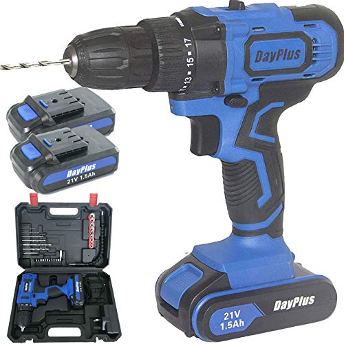 Cordless Drill Driver Kit, 21V Cordless Drill Set with Hammer Action & Magnet, 2 x 1500mAh Batteries, 45Nm Compact Electric Drill Driver Set, 18+1 Torque Setting Electric Drill with Carrying Case