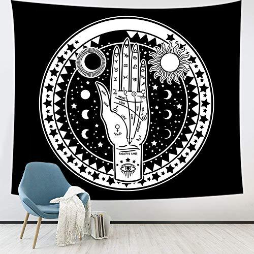 Tapiz de pared de tarot, tapiz de estrella lunar y sol, tapices de misterio de energía de mano de palma celestial tapiz blanco y negro para colgar en la pared para sala de estar dormitorio dormitorio