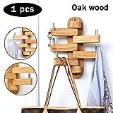 Perchero giratorio de madera moderno montado en la pared, gancho plegable para sombrero, organizador de brazo de granja, con 5 ganchos estándar, perchas de almacenamiento decorativo para toallas