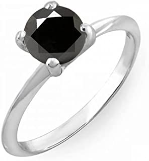 Round Black Diamond Ladies Bridal Engagement Solitaire Ring, Sterling Silver