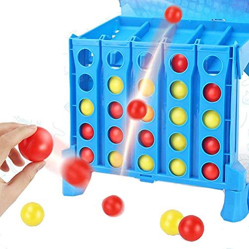 LGYKUMEG Gaming Connect 4 Shots Game, Classic Dobling Bouncing Linking Shots Bounce Game, Juguetes de Rompecabezas educativos para niños, Juego de Mesa de interacción para Padres e Hijos,Azul