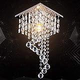 Lustre carré en cristal à 3 niveaux en forme de gouttes de pluie Pour chambre salon couloir E14 ampoules