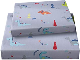 Bedlifes Kid's Sheet Set Twin Dinosaurs Theme for Kids Childrens Boys Girls Bed Sheets Flat Sheet& Fitted Sheet& Pillowcase 100% Cotton 3PCS Grey Twin