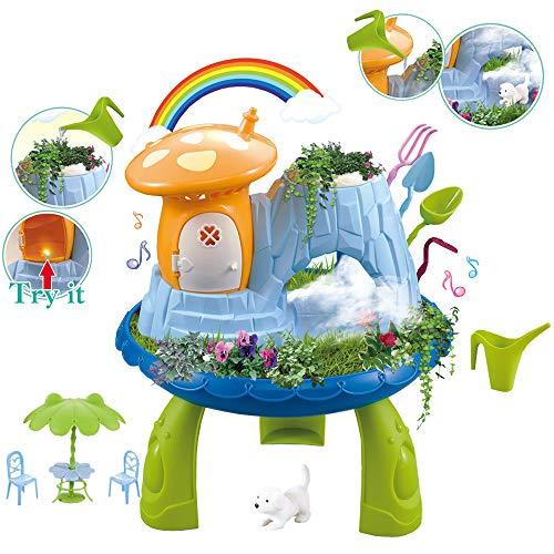 deAO Sprookjes DIY Miniatuur Nevelige Magische Paddestoelen Huisje Tuin Speelset met Mist, Muziek, Lichtfuncties en Mini-Tuinaccessoires Inbegrepen - Geweldig voor kinderen