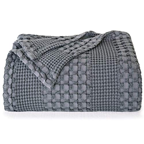 """PHF 100% Cotton Waffle Weave Blanket Queen Size 90""""x90"""" for Home Decorations - Textured, Breathable, Skin-Friendly, Moisture Absorption Blanket for All Season - Perfect for Couch Bed Sofa Dark Grey"""