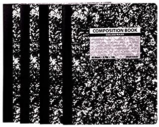 Mintra Office Composition Notebooks - Black Marble Composition, College Ruled Paper, 4 Pack, 80 Sheets, 7.5in x 9.75in For School, Home, Business, Office