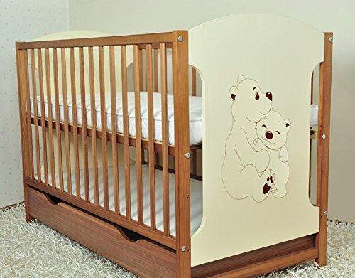 Miki Ours Marron + Crème pour lit de bébé en bois avec tiroir 120 x 60 cm + Matelas en mousse de dentition + Rails