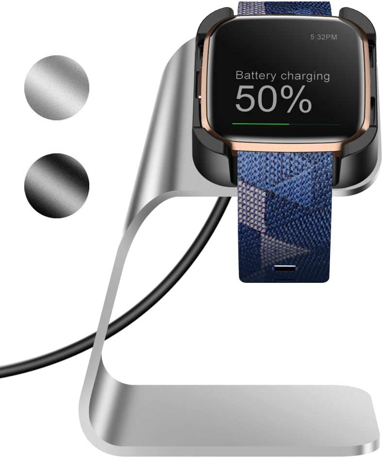 KIMILAR Cargador Compatible con Fitbit Versa 2 Base de Carga (No para Versa/Versa Lite/SE), Aleación de Aluminio USB Repuesto Cargador Charger Cble para Versa 2 Smartwatch (Plata)