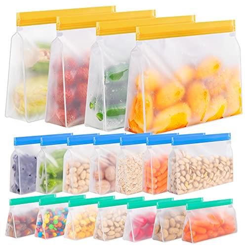 Reusable Storage Bags, 18 Pack Reusable Freezer Bags Stand Up, Reusable Gallon Bags, Reusable Bags...
