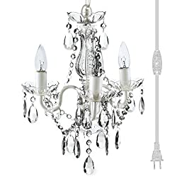 The Original Gypsy Color 3 Light Mini Plug-in Crystal Chandelier H16