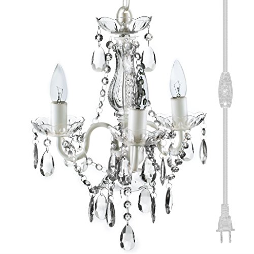 """The Original 3 Light Crystal White Plug-in Gypsy Chandelier for H17"""" W12"""", White Metal Frame with Clear Acrylic Crystals (Better Than Glass)"""