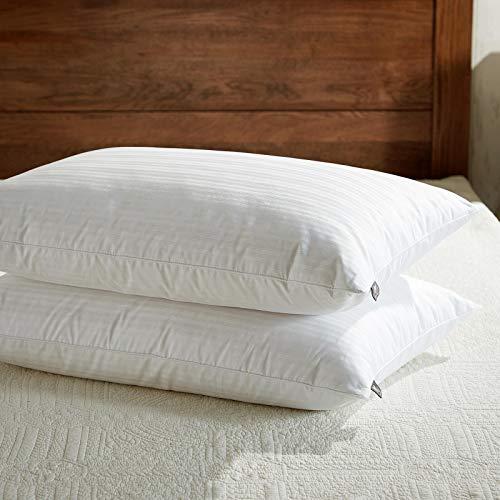 Downluxe Dobby - Juego de 2 almohadas de plumas de ganso, 100% algodón egipcio, color blanco