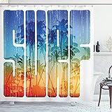 ABAKUHAUS Sommer Duschvorhang, Surf Retro Buchstaben Palmen, mit 12 Ringe Set Wasserdicht Stielvoll Modern Farbfest & Schimmel Resistent, 175x200 cm, Orange