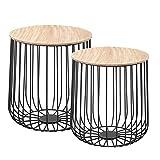IDIMEX Lot de 2 Tables d'appoint ERRANO Tables à café Tables Basses Rondes Bouts de canapé Design Vintage Industriel, Rangement Panier en métal avec Plateau Amovible en MDF décor Bois Naturel