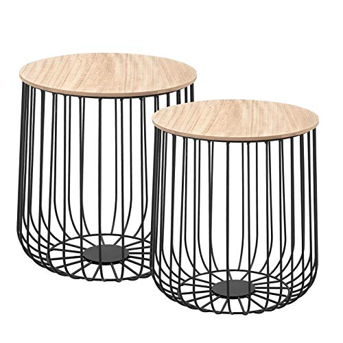 CARO-Möbel Couchtisch ERRANO Beistelltisch Wohnzimmertisch im 2er Set in Natur, Metallkorb mit Stauraum, Vintage Look