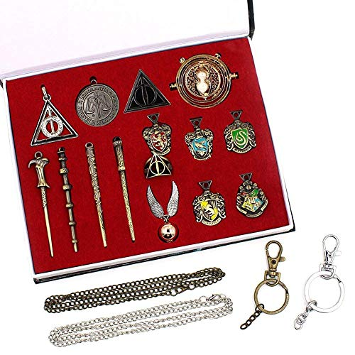 Juego de 15 collares de varita mágica para niños con llavero, collar, collar de turner e insignias escolares, varita mágica de Dumbledore Voldemort en una caja de regalo