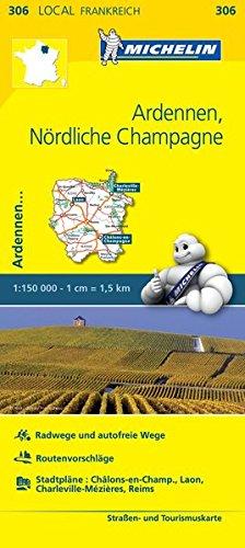 Michelin Ardennen - Nördliche Champagne: Straßen- und Tourismuskarte 1:150.000