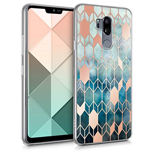 kwmobile LG G7 ThinQ/Fit/One Hülle - Handyhülle für LG G7 ThinQ/Fit/One - Handy Case in Glory Design Blau Rosegold