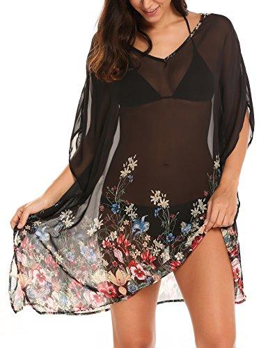 Zeagoo Damen Strandtunika Poncho Bikini Kleid Chiffon Sommerkleid Beachwear Blumen Druck Cover-Up One-Size (One-Size, Blumen 4)