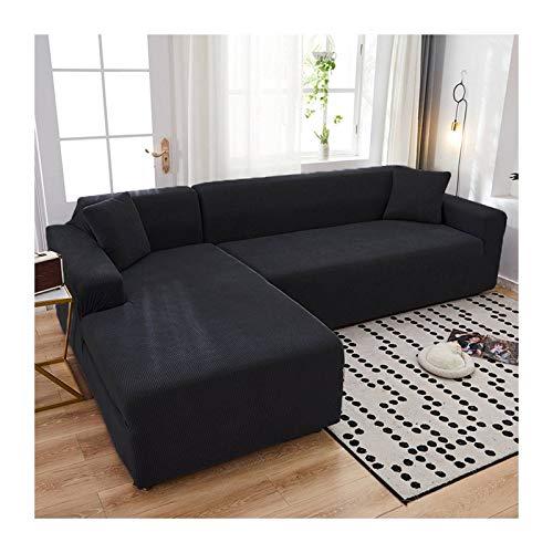 JHLD Fundas para Sillones Sofá En Forma De L, Alta Elasticidad Cubre Sofa Lavable Moda Protector para Sofás para Sala De Estar Mascota-C-X-Large + X-Large