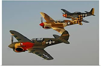 "GREATBIGCANVAS Two P-40 Warhawks and a P-51D Mustang Fine Art Poster Print, Airplane Home Decor Artwork, 30""x20"""