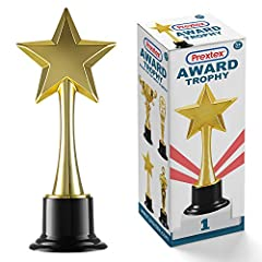 Giant 10 Inch Tall Gold Award Trophy Standing on Black Plastic Stand With Star In Hands Beautifully Packaged in Nice Designed Box Great For Gift Giving Made of Strong And High Quality ABS Plastic Which Can Handle A Good Fall And will not Break Black ...