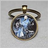 Schlüsselanhänger mit Glasfliesen, Wolf-Schlüsselanhänger, Mond-Schlüsselanhänger, einzigartiger Schlüsselanhänger, individuelles Geschenk, alltagstaugliches Geschenk -