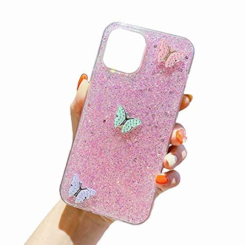 Miagon Glitzer Silikon Hülle für Samsung Galaxy Note 10 Plus,Bling Handyhülle mit Schmetterling Design Stoßfeste TPU Glänzend Tasche Schutzhülle