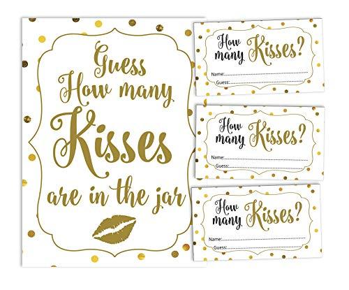 Inkdotpot hoeveel kussen in de pot wit goud Confetti bruids douche spel 1 teken + 30 kaarten