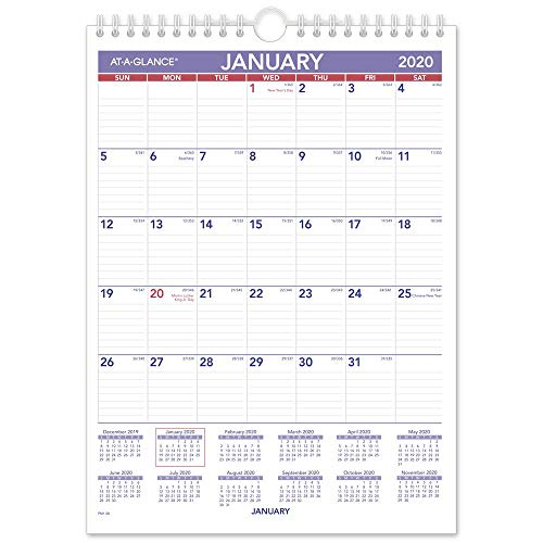 AT-A-GLANCE 2020 Monthly Wall Calendar, 8 x 11, Small, Wirebound (PM128), Model:PM12820