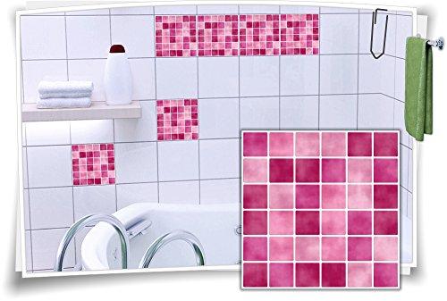 Medianlux Fliesenaufkleber Fliesenbild Fliesen Aufkleber Fliesenimitat Mosaik Pink, 12 Stück, 10x10cm