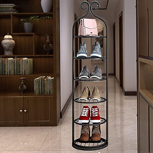ZYFA Scaffale Portascarpe in Metallo Scarpiera Salvaspazio per Ingresso Soggiorno Camera da Letto Cucina,Bagno, Corridoio, spogliatoio (Color : Black, Size : 6-Tier)