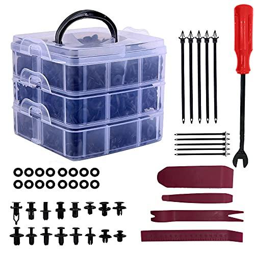Remaches Plastico Clips de coche y clip de remache de guardabarros de plástico sujetador, (660 PCS red)