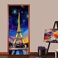 手描きの油絵パリタワー3DPVC自己粘着ドアステッカー壁紙家の装飾リビングルーム研究ドアステッカーアートアートポスター30.3X78.7(77X200Cm)