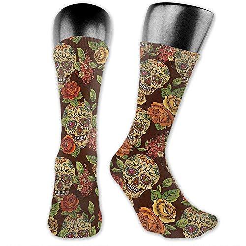 winterwang Otoo Flores de colores Personalidad Moda Alto rendimiento Hombre Mujer Calcetines de vestir