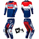 O'Neal Element Warhawk Blue/Red Adult motocross MX off-road dirt bike protective Jersey Pants combo riding gear set (Pants W34 / Jersey Large)