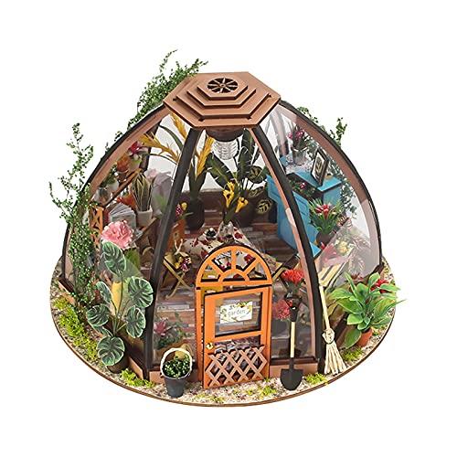 F Fityle Kit de casa de muñecas en Miniatura de Madera para Bricolaje con Muebles y Herramientas de jardinería, Juego de Mini casa de jardín de Madera, el