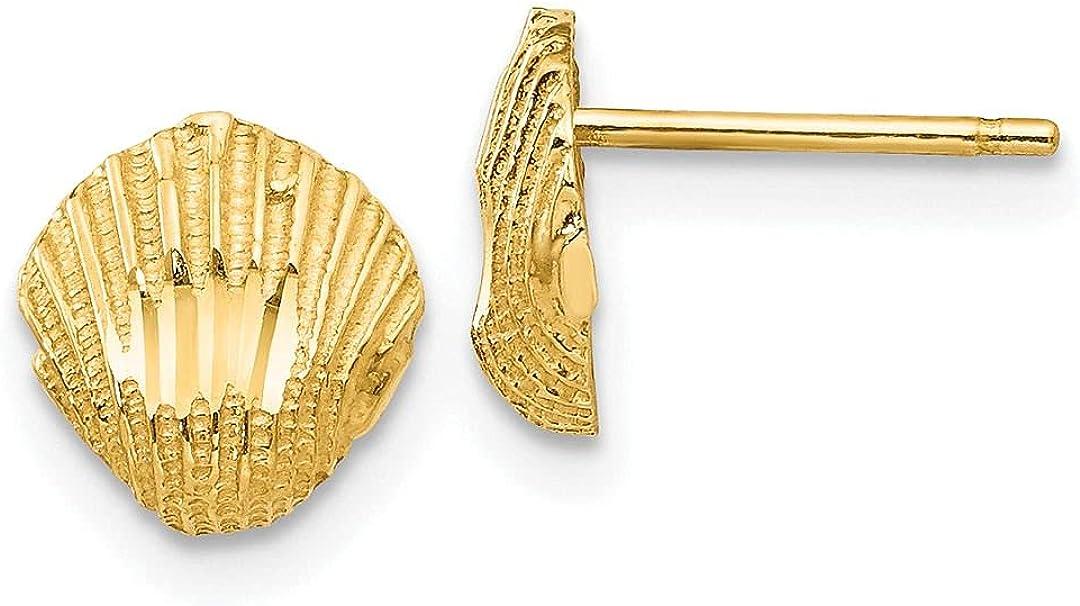 Jewelry-14K Diamond-cut Shell Earrings