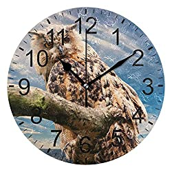 Promini Animal Bird Owl Sky Wooden Wall Clock 15Inch Silent Battery Operated Non Ticking Wall Clock Vintage Wall Decor for Kitchen, Living Room, Bedroom, School, or Office