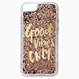 ORAS Glitter Bling Quicksand Liquid Waterfall Girls Soft Silicone Good Vibes Only Mobile Phone Back Case Cover for Apple iPhone 8 (Color_Gold)