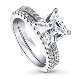BERRICLE Rhodium Plated Sterling Silver Princess Cut Cubic Zirconia CZ Hidden Halo Solitaire Wedding Engagement Ring Set 3.7 CTW Size 5