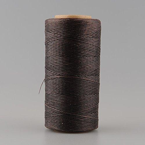 YZG レザークラフト 蝋引き糸 手縫い 糸 ワックスコード ひも 260m 平紐 タイプ ベージュ