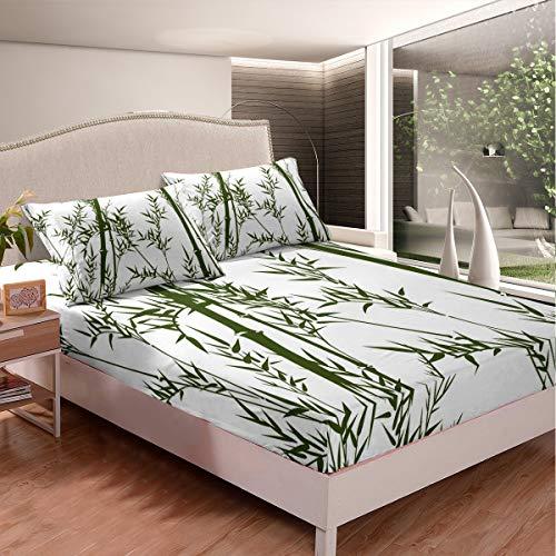 Loussiesd - Juego de sábanas de bambú con patrón botánico para niños y adultos, diseño de plantas, sábana bajera de acuarela con 1 funda de almohada, 2 unidades de tamaño individual