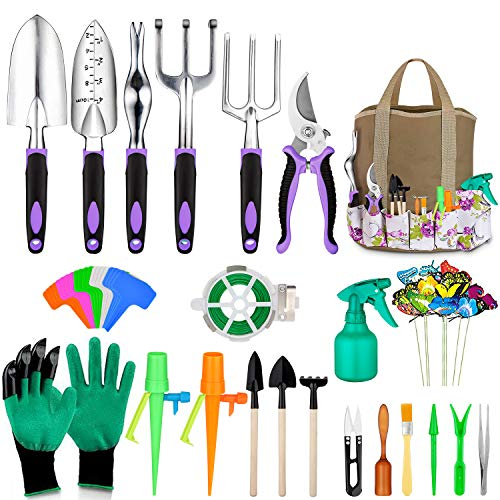 Tudoccy Garden Tools Set 51 Piece, Succulent Tools Set Included, Heavy Duty Aluminum Gardening Tools for Gardening, Non-Slip Ergonomic Handle Tools, Durable Storage Tote Bag, Gifts Tools for Men Women