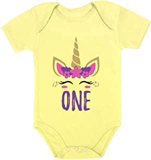 Tstars Gift for 1 Year Old Baby Girl 1st Birthday Gift Unicorn Baby Bodysuit