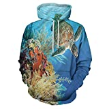 Turtle Fashion Hoodie Hooded Exotic Turtle Coral for Men/Women