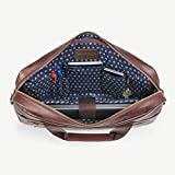 Daniel's 15.5 Inch Premium Italian Leather Briefcase Messenger Bag - Padded Laptop Compartment - Removable/Adjustable Shoulder Strap - Model No. 1 Briefcase Bag For Men (Brown with Sailboat Lining)