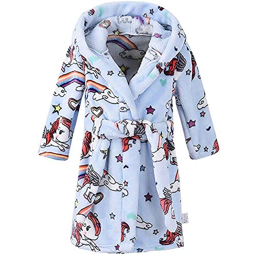 Boys Girls Bathrobes, Toddler Kids Hooded Robes Plush Soft Coral Fleece Pajamas Sleepwear for Girls Boys (Cartoon Blue, US 3T/Height 39.4')