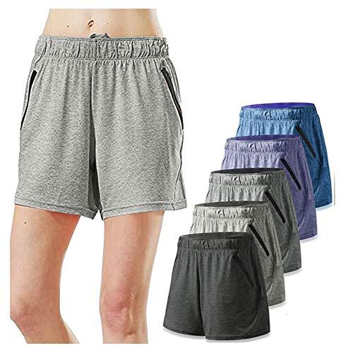 wintom 5PC Pantalones Cortos Casual Algodón Elásticos Deportivos para Mujer Entrenamiento Yoga Verano para Hacer Ejercicio Trotar Gimnasio Pijamas Interior Suelto Elástico