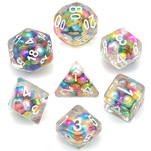 cusdie Colorful Bead Dice Polyhedral DND Dice Set for Dungeons and Dragons MTG RGP Role-Playing Game